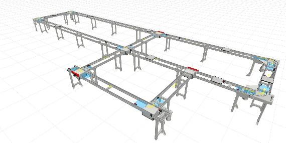 南京翰廷设计去静电自动皮带线,附带支线可以同步进行2种产品的装配